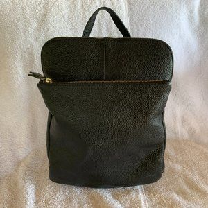 L Credi Black Pebbled Leather Backpack Italy